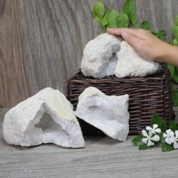 Natural Calcite Geode Pair – 2 Small Geodes Set N482 | Himalayan Salt Factory