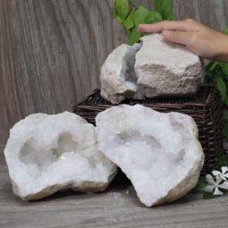 Natural Calcite Geode Pair – 2 Small Geodes Set N486 | Himalayan Salt Factory