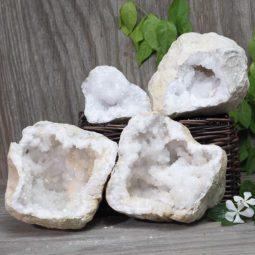 Natural Calcite Geode Pair – 2 Small Geodes Set N488   Himalayan Salt Factory