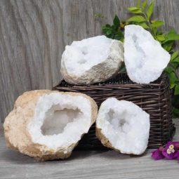 Natural Calcite Geode Pair – 2 Small Geodes Set N494   Himalayan Salt Factory
