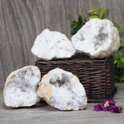 Natural Calcite Geode Pair – 2 Small Geodes Set N495   Himalayan Salt Factory