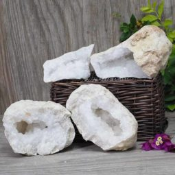 Natural Calcite Geode Pair – 2 Small Geodes Set N496   Himalayan Salt Factory