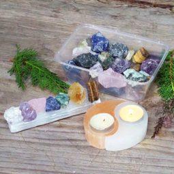 Selenite and Mixed Roughs Holistic Crystal Set   Himalayan Salt Factory