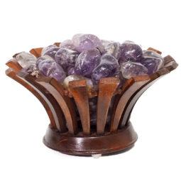 Amethyst Crystal Gemstones Lotus Lamp | Himalayan Salt Factory