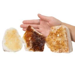 Citrine Polished Crystal Geode Specimen Set 3 Pieces DN216 | Himalayan salt factory