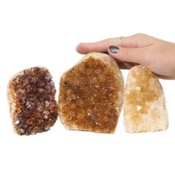 Citrine Polished Crystal Geode Specimen Set 3 Pieces DN219 | Himalayan Salt Factory