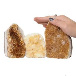 Citrine Polished Crystal Geode Specimen Set 3 Pieces DN224 | Himalayan Salt Factory