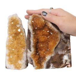 Citrine Polished Crystal Geode Specimen Set 3 Pieces DN227 | Himalayan Salt Factory