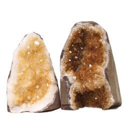 Citrine Polished Crystal Geode Specimen Set 3 Pieces DN230 | Himalayan Salt Factory