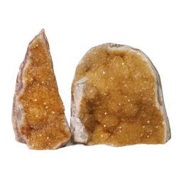 Citrine Polished Crystal Geode Specimen Set 3 Pieces DN232 | Himalayan Salt Factory