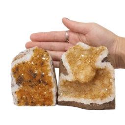 Citrine Polished Crystal Geode Specimen Set 3 Pieces DN234 | Himalayan Salt Factory