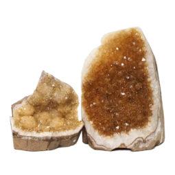 Citrine Polished Crystal Geode Specimen Set 3 Pieces DN238 | Himalayan Salt Factory