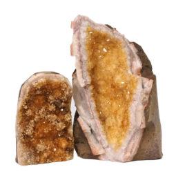 Citrine Polished Crystal Geode Specimen Set 3 Pieces DN242 | Himalayan Salt Factory