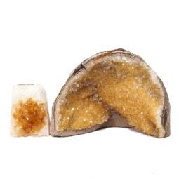Citrine Polished Crystal Geode Specimen Set 3 Pieces DN243 | Himalayan Salt Factory