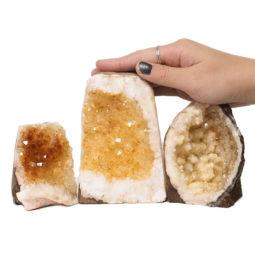 Citrine Polished Crystal Geode Specimen Set 3 Pieces DN245 | Himalayan Salt Factory