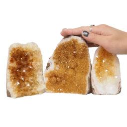 Citrine Polished Crystal Geode Specimen Set 3 Pieces DN249 | Himalayan Salt Factory