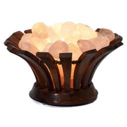 Clear Quartz Crystal Gemstones Lotus Lamp | Himalayan Salt Factory