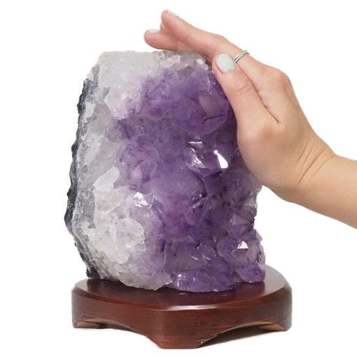 Natural Amethyst Crystal Lamp with Timber Base DN261 | Himalayan Salt Factory
