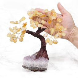 Citrine Gemstone Bonsai Tree on Amethyst Cluster 20cm | Himalayan Salt Factory