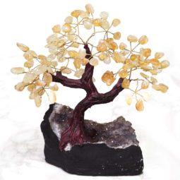 Citrine Gemstone Bonsai Tree on Amethyst Cluster 25cm | Himalayan Salt Factory