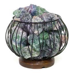 Rainbow Fluorite Rough Amore Lamp - LED White Bulb | Himalayan Salt Factory