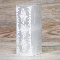 Selenite Rectangle Engraved Lamp | Himalayan Salt Factory